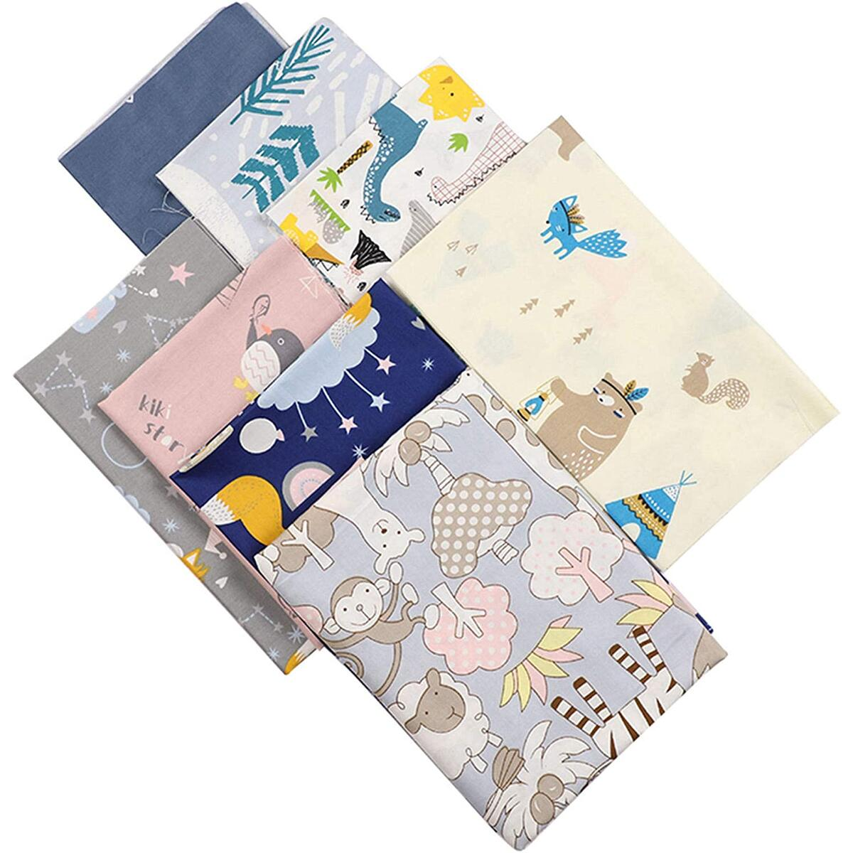 8pcs Precut Fat Quarters Cotton Fabric Bundles - Animal Theme Fabric - DIY Crafting Series - 100% Cotton - Eco-Friendly – 8pcs Printed Fabric - 18x22 Inches Each