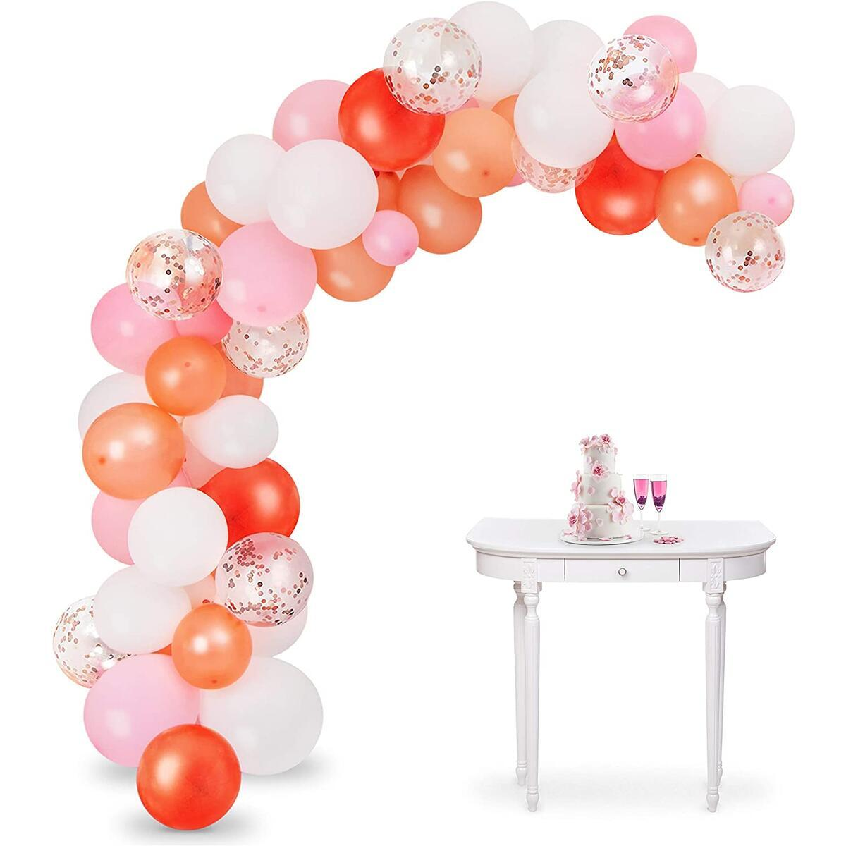 Pink Balloon Garland Arch Kit - 104 Pcs Assorted Sizes & Colors - Rose Gold, Pink, White, Confetti Rose Gold Latex Balloons - 16-Foot DIY Party Supplies for Birthdays, Showers, Weddings, and More
