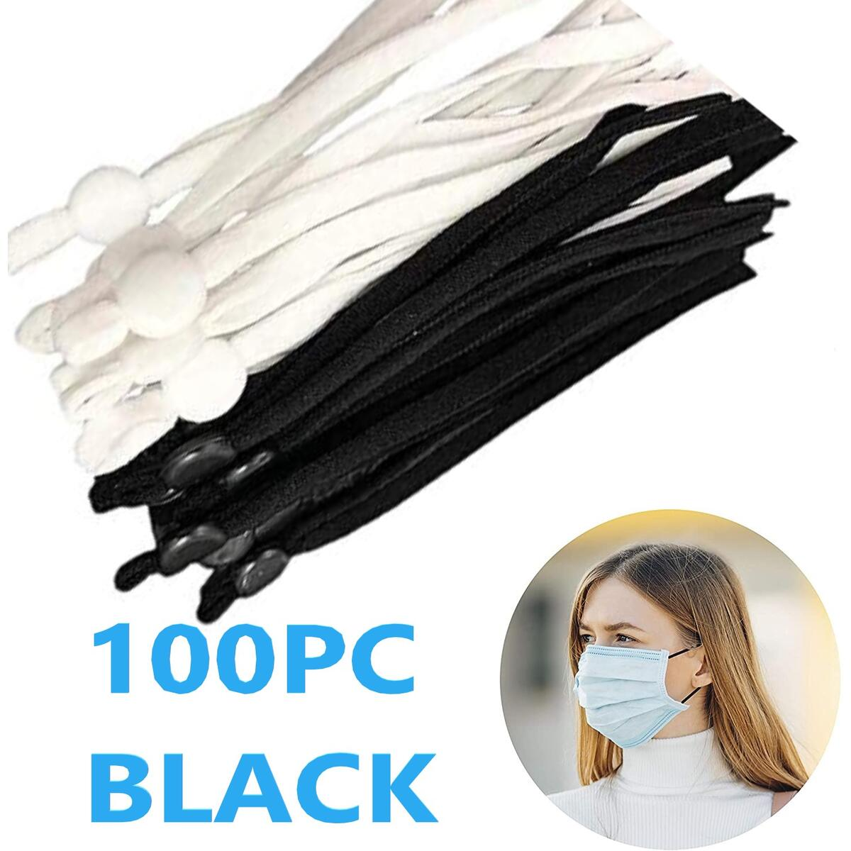 100 Pcs BLACK 1/4 Inch Sewing Elastic Band Stretchy Ear Loops Straps with Adjustable Buckle Silicone Cord Lock Toggles for Drawstrings, Making Supplies Elastic String for Masks