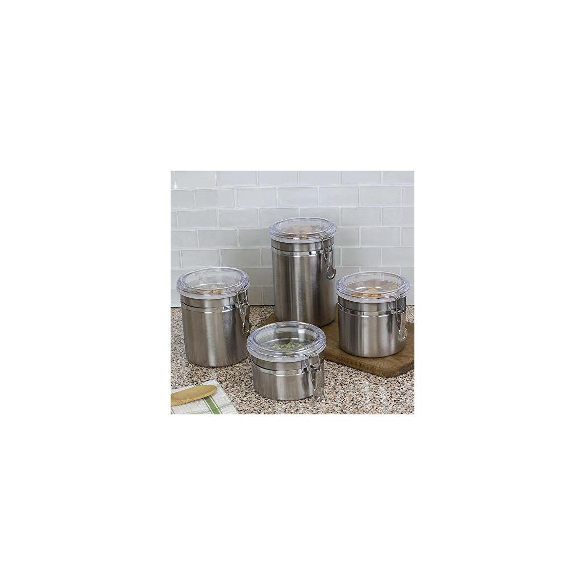 Beautiful 5-Piece Stainless Steel Airtight Canister Set, Food Storage Container for Kitchen Counter, Tea, Sugar, Coffee, Caddy, Flour Canister with Clear Acrylic Lid n' Locking Clamp