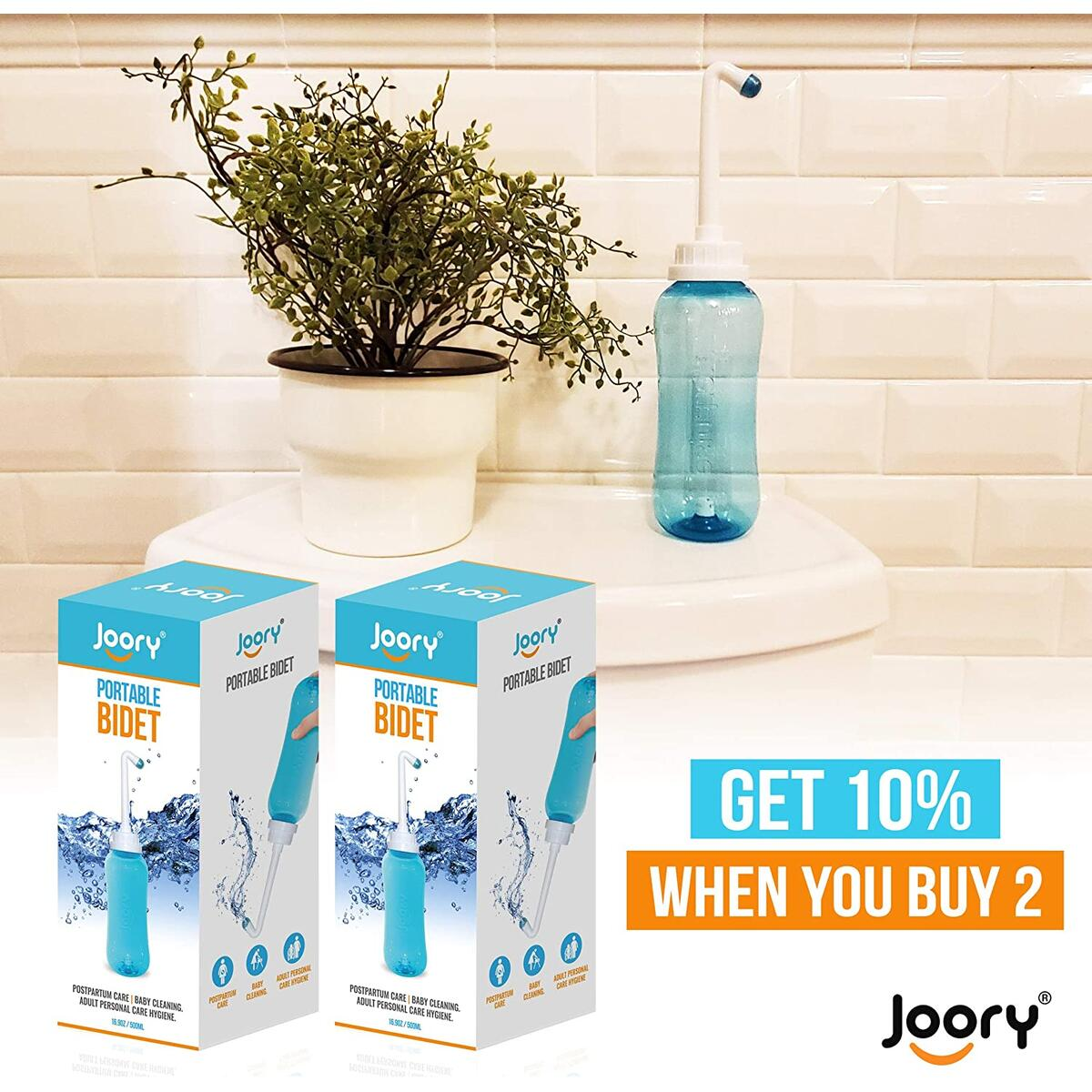 JOORY Peri Bottle Postpartum Handheld Bidet – Gently Cleanse After Childbirth Without Toilet Paper - 500ml Perineal Spray Bottle with 2 Interchangeable Nozzles, Travel Bag and Leakproof Cap