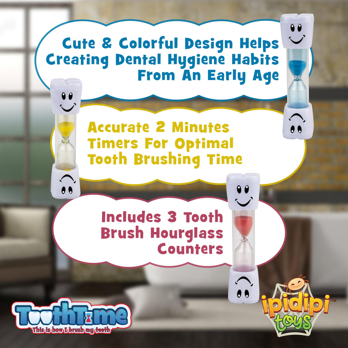 2 Minutes Hourglass Brushing Teeth Timers, Pack of 3, Fun Sand Counter
