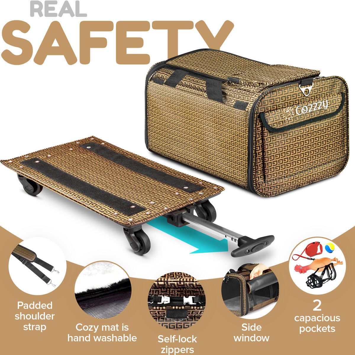 Cozzzy Airline Approved Pet Carrier BROWN-LARGE-WITH-WHELS 19.6 in 11.8 in 11.8 in, Soft Sided for Small Dogs, Medium Cats Other Small Pets