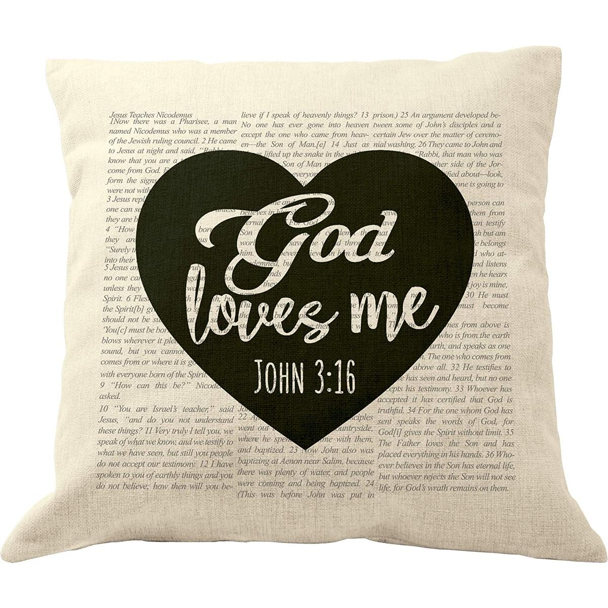 DrupsCo John 3 16 Pillow Cover - Bible Verse Pillow Covers 18x18, Bible Verse Throw Pillow