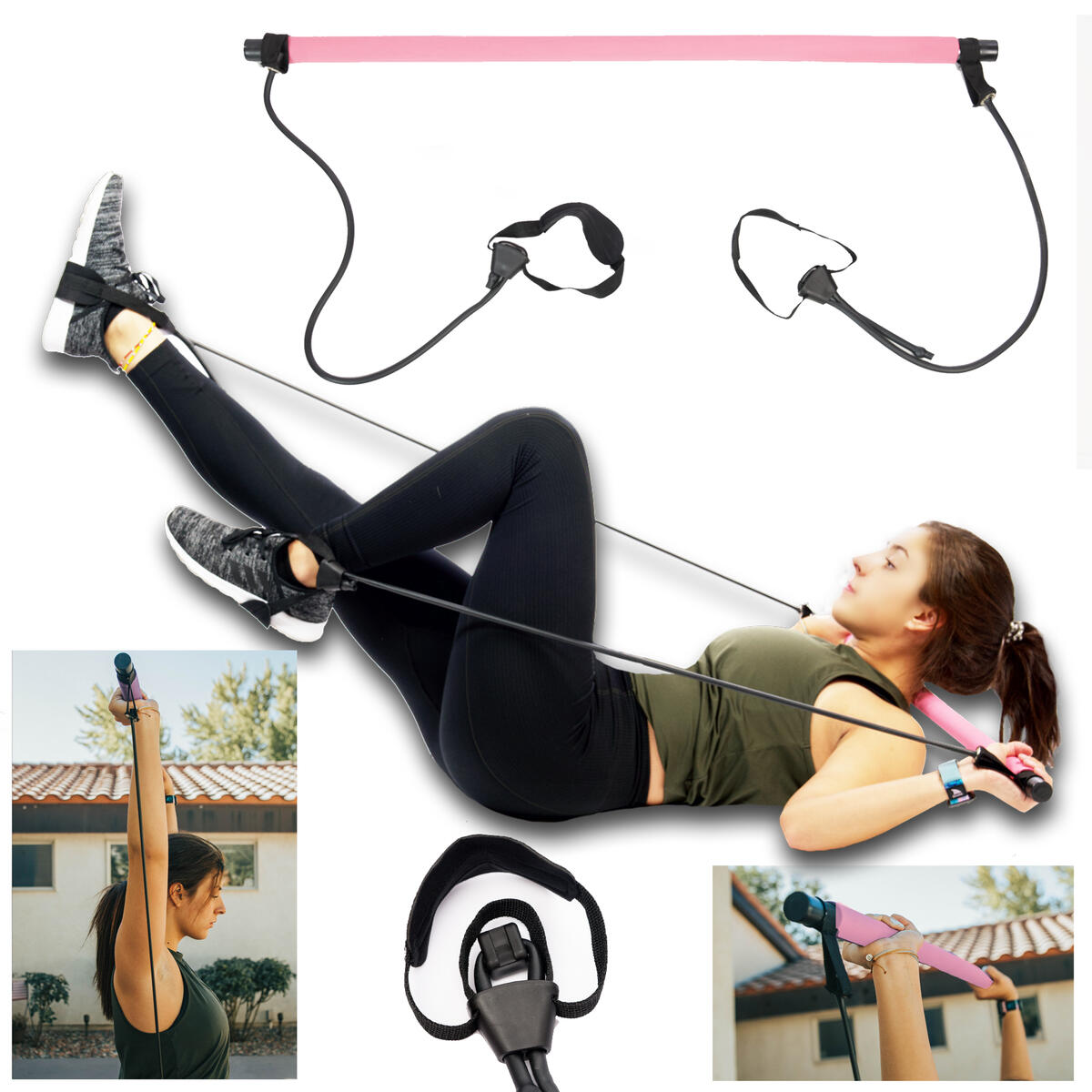 Pilates Bar Kit With Adjustable Resistance Bands Portable Home Gym Equipment x3 Full Body Workout Exercise Band For All Levels Yoga Strength Training on The Go for Women Men Premium Pink and Black…