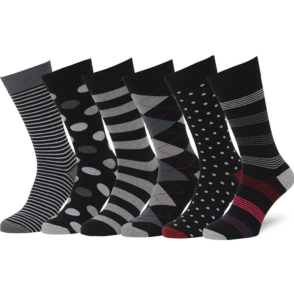 Dress Socks 6 Pack Combed Cotton Patterned Black & Gray Dress Socks for Men