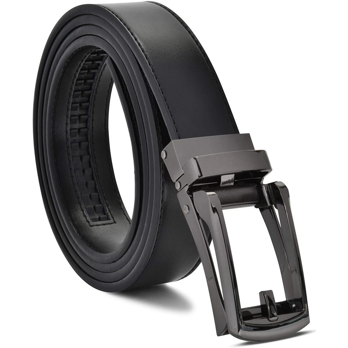 Rebate Only For : Color: Black Belt / Black Buckle  Size: ADJUSTS TO FIT 28-44  - Mens Genuine Leather Ratchet Dress Belt with Slide Belt for men