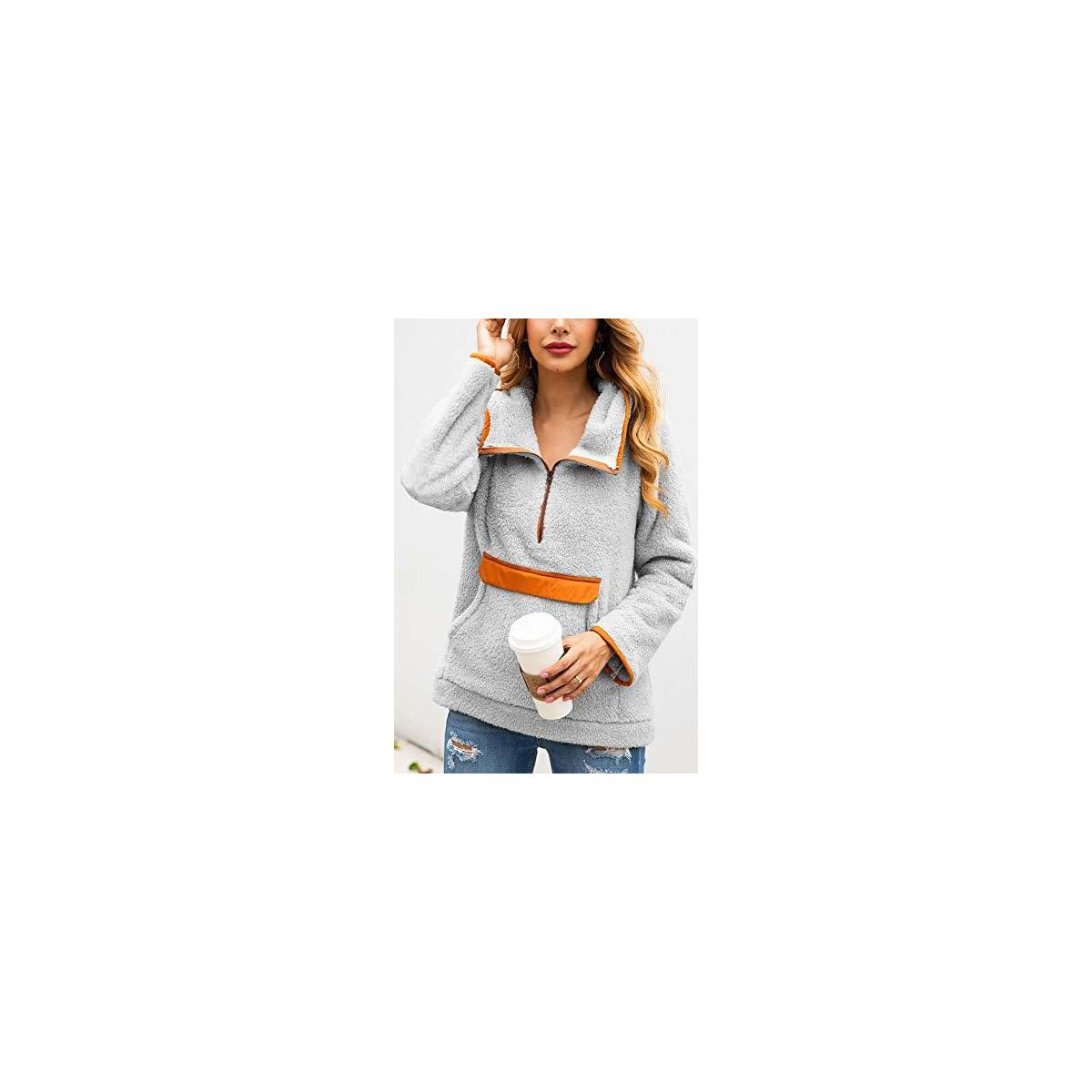 Women's Long Sleeve Lapel Hooded Fluffy Jacket Sherpa Pullover Haft Zipper Sweatshirt Fleece Outwear with Pocket