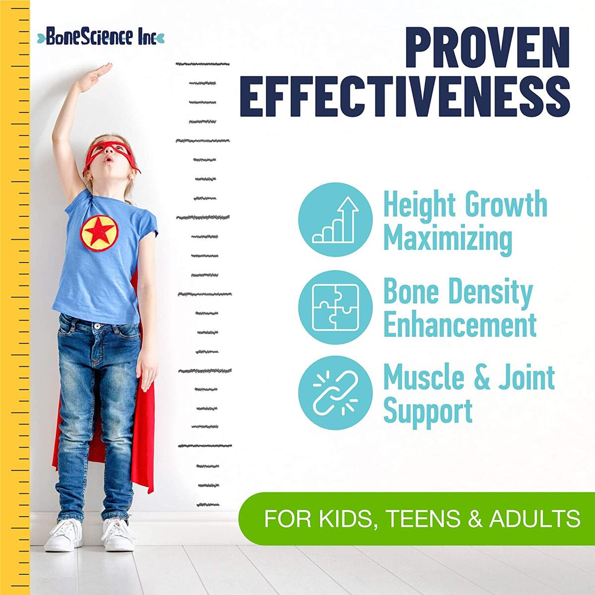 Height Growth Pills for Adults & Kids - Growing Pills & Peak Height Maximizer - Natural Bone Support - Growth Vitamins for Teens Height - Grow Taller Height Pill Supplement - 60 Capsules - Made in USA