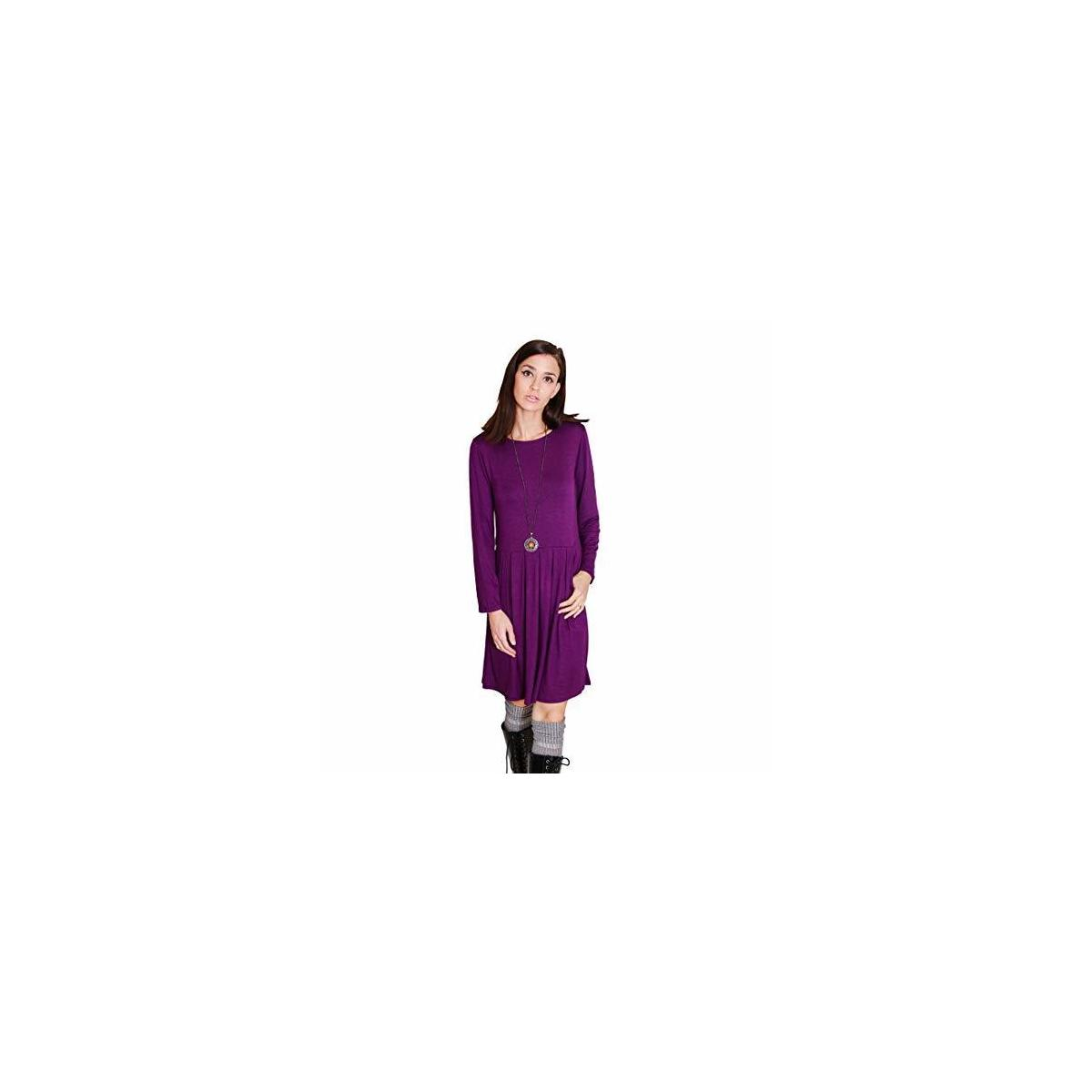 Happy Trunks Women's Tshirt Dress Long Sleeve Pleated Loose Swing Casual with Pockets Knee Length Comfy Tunic Solid Colors
