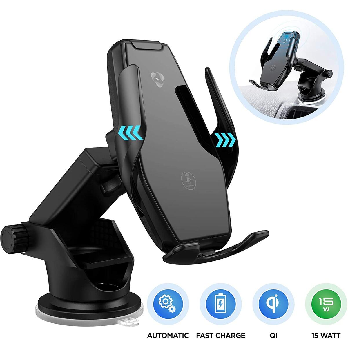 Wireless Car Charger 15W Qi Fast Charging Infrared Sensor Automatic Clamping Mount Windshield Dash Air Vent Holder Dual 3.0A Quick Charge USB Ports Compatible with iPhone Samsung Galaxy LG Smartphone…
