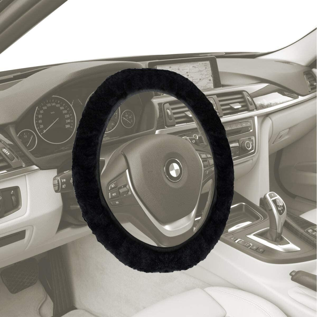 VaygWay Sheepskin Fur Wheel Cover - Black Fuzzy Steering Wheel Cover – Stretch-On Plush Furry Cover - for Car Auto SUV