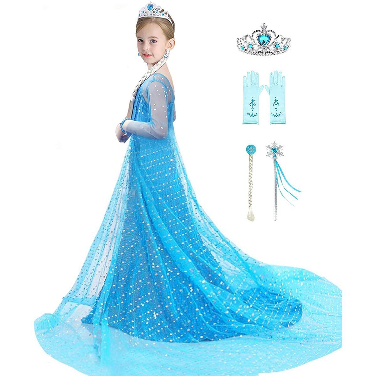 Girls Princess Dress Elsa Costume