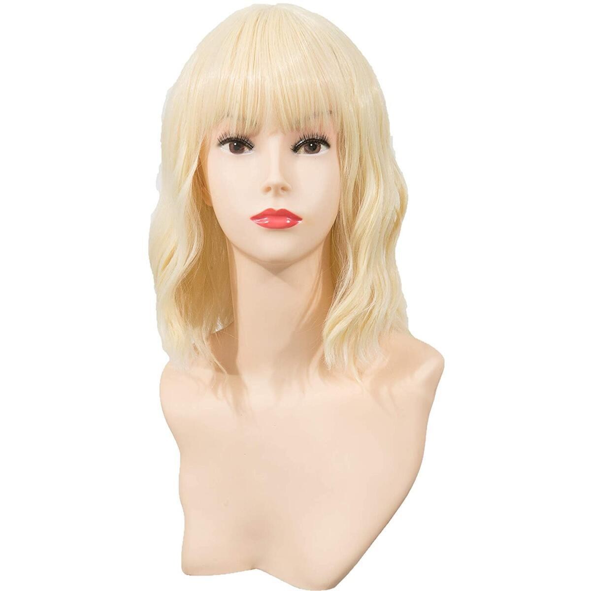 FESTIVAL PARTY Light Blond Short Wavy Wig with Bangs for Women Curly Hair Natural Looking Heat Resistant Fiber Daily Use Costume Cosplay Halloween Party Wigs Blonde 14