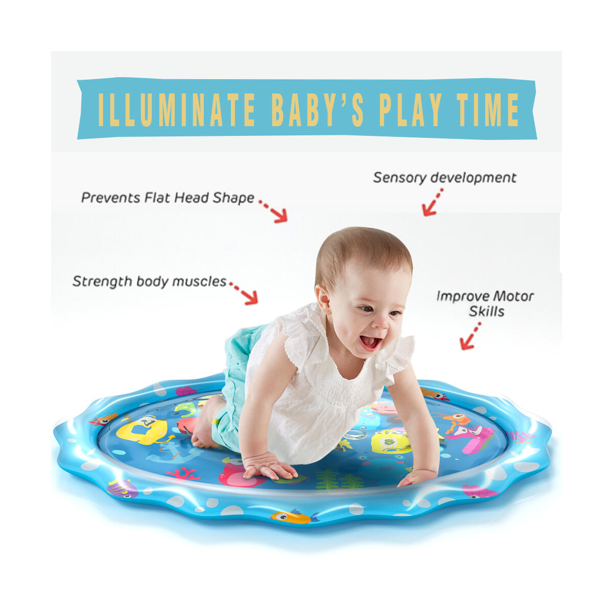 Tummy Time Mat Large Size Baby Water Play Mat Mat 33.5