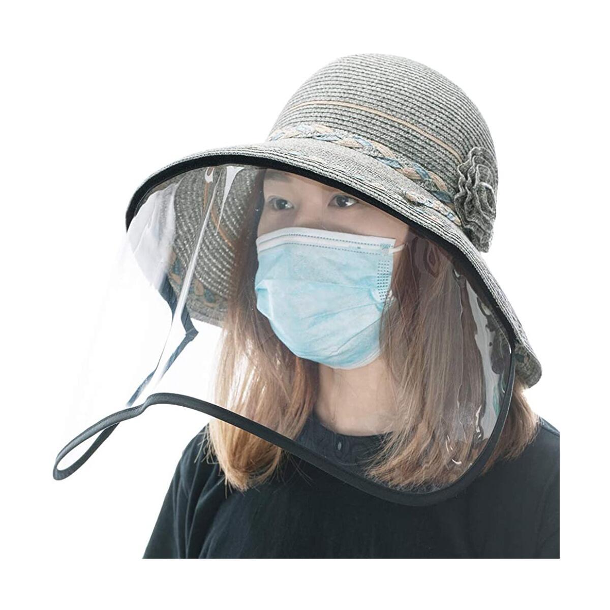 Fancet Womens Wide Brim Packable Straw Summer Sun Hat with Transparent Shield Safari Hiking Bonnie Blue