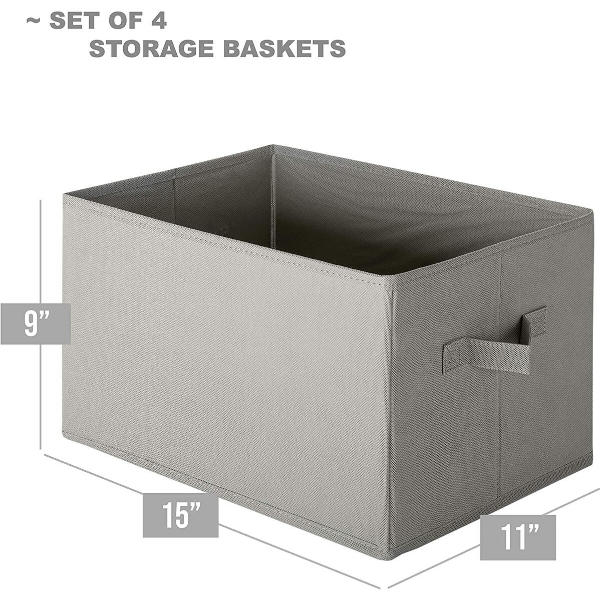 Storage Baskets - 4 Pack - Durable and Sturdy Large Storage Bins (Light Grey)