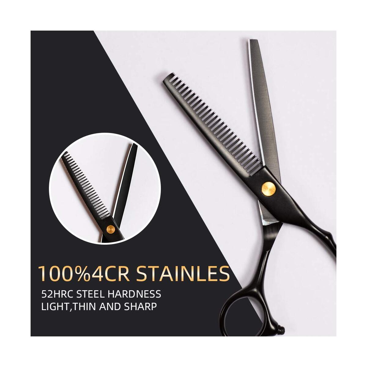 Hair Cutting Scissors Set 10 Pcs Hairdressing Scissors Kit Thinning Shears Clips Cape,Professional Barber Salon Home Shear Kit with Fine Adjustment Tension Screw Japanese Stainless Steel