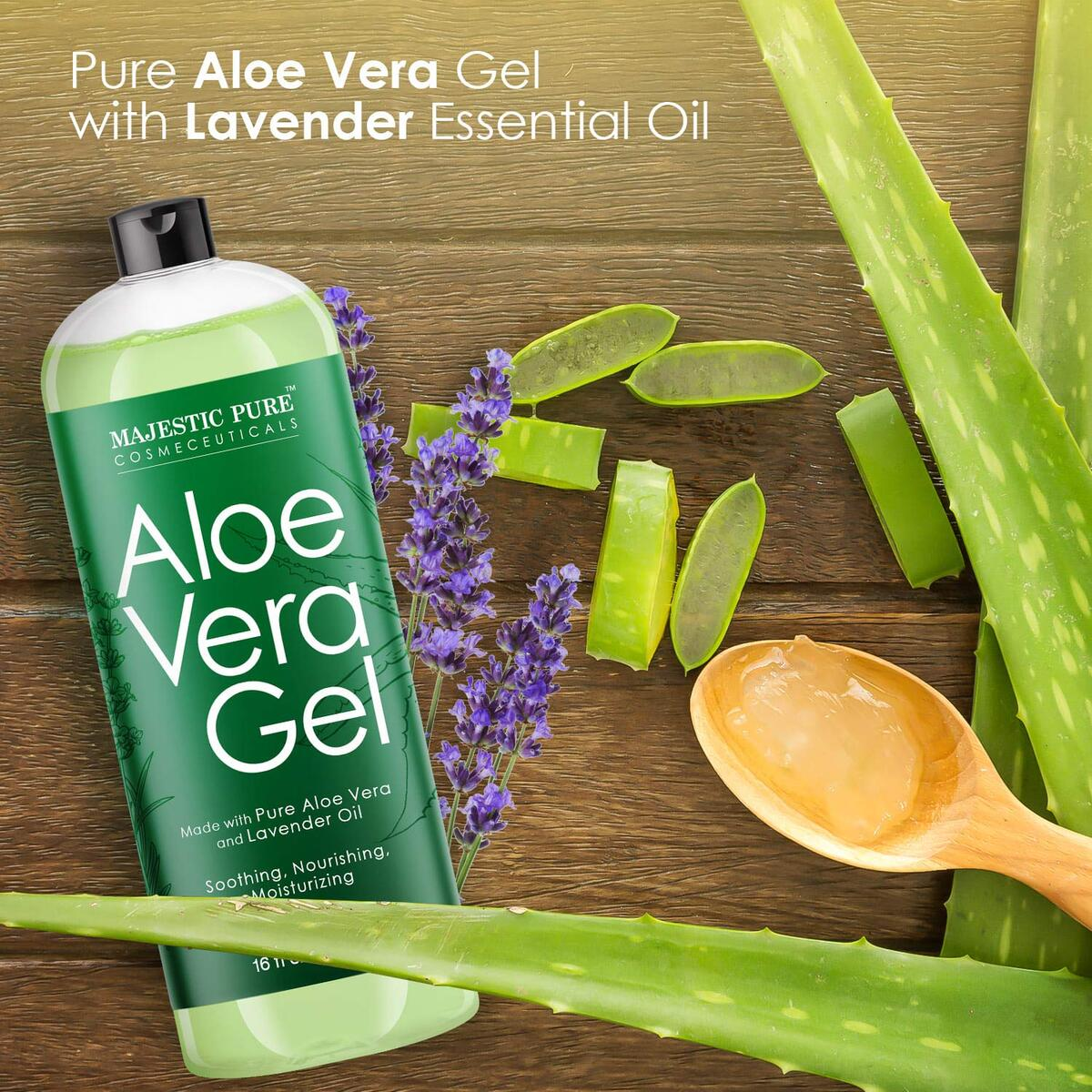 Pure Aloe Vera Gel with Lavender Oil, Soothes, Moisturizes, & Nourishes Skin & Hair, Soothes Sunburn, Eczema, Small Cuts & Bites, 16 fl oz