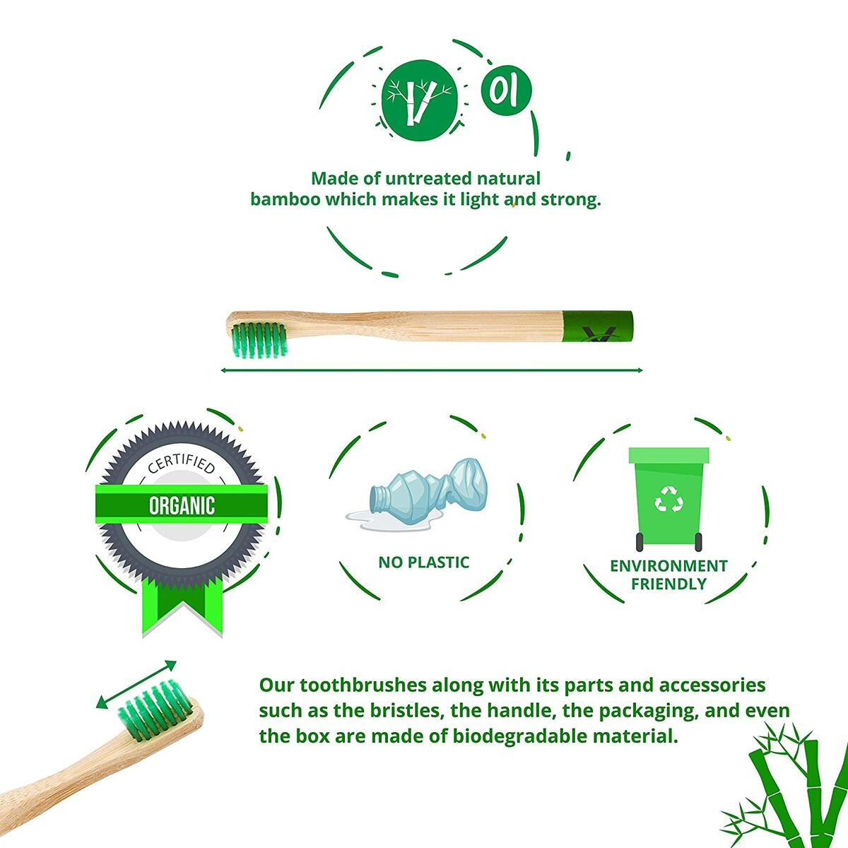 Vaireo Bamboo Eco Friendly Wooden Soft Kids Toothbrushes – Wood Handle Vegan Compostable Biodegradable Non Plastic Bristles Recyclable Sustainable Organic Natural Children Tooth Brush - Child Colorful 6 Pack