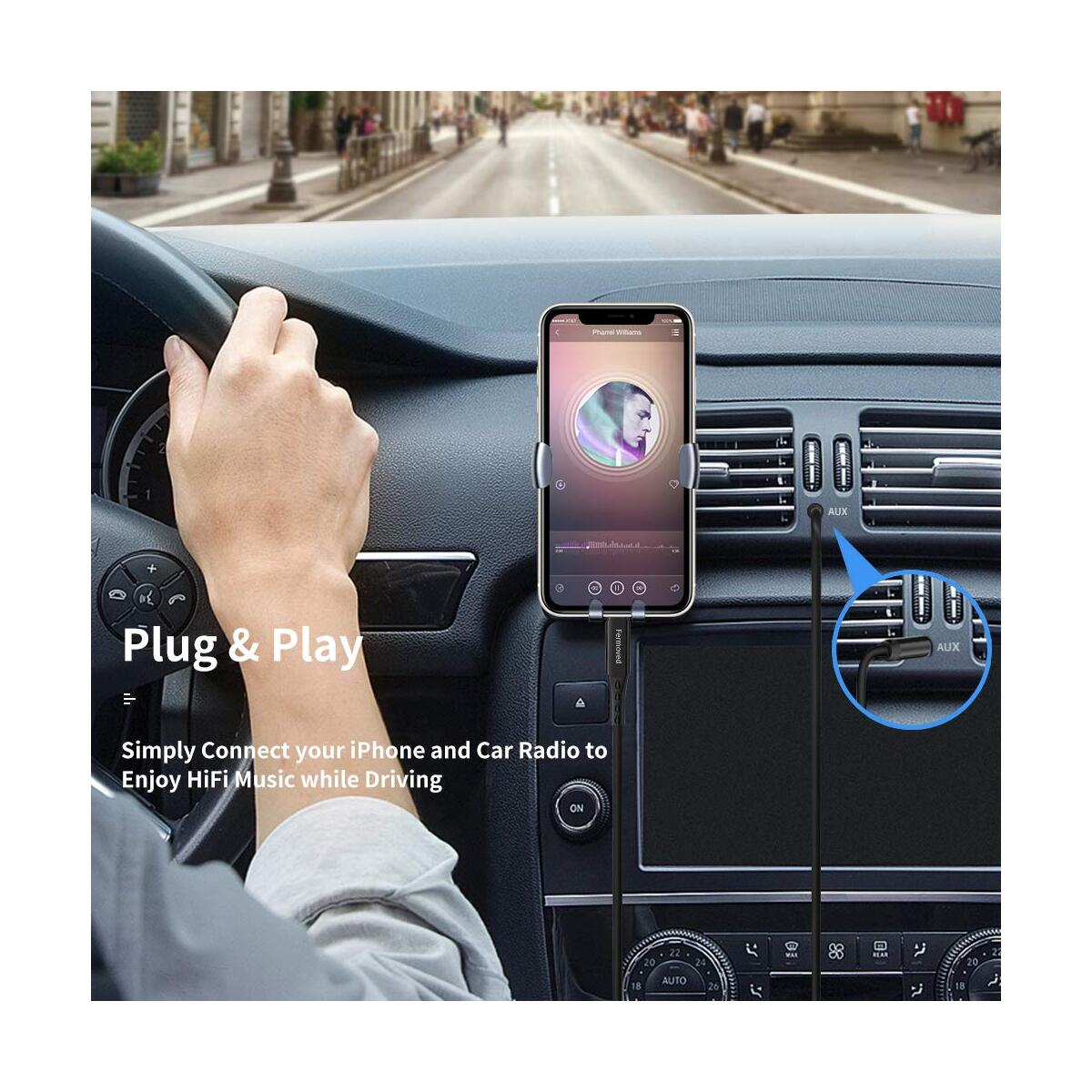 Aux Cord for iPhone, Fermoved Audio Cable Aux Cable for iPhone 11/11 Pro/11 Pro Max/X/XS/XR/8/8 Plus/7/iPad/iPod to 3.5 mm Car Stereo, Speaker, Headphone, Supports All iOS Version (3.4ft/1M)