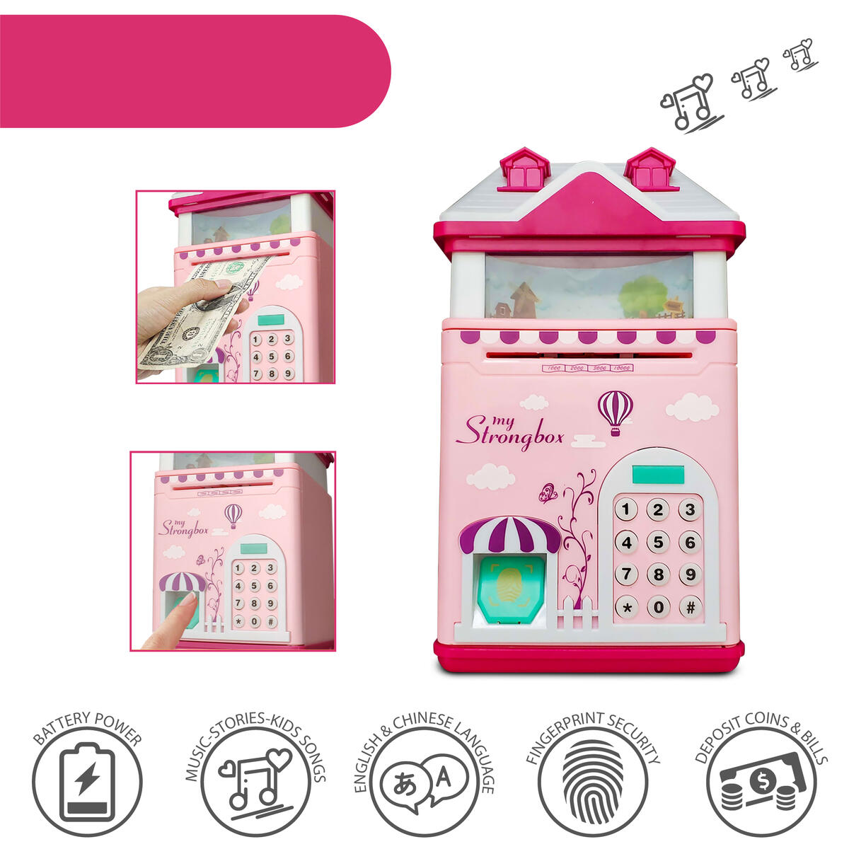 Buddy N Buddies Kids Money Safe Box ATM Safe Bank Electronic Password Piggy Bank Cash Coin Pink House