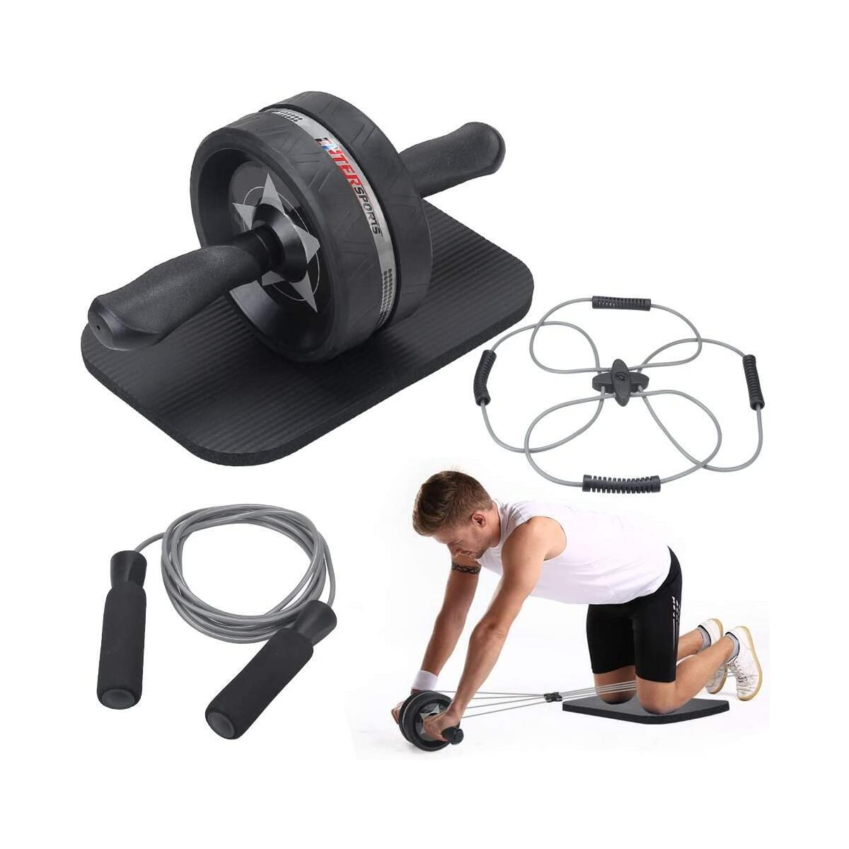 EnterSports Ab Roller Wheel, 4 in 1 Ab Roller Kit with Knee Pad, Multifunctional Resistance Band, Jump Rope