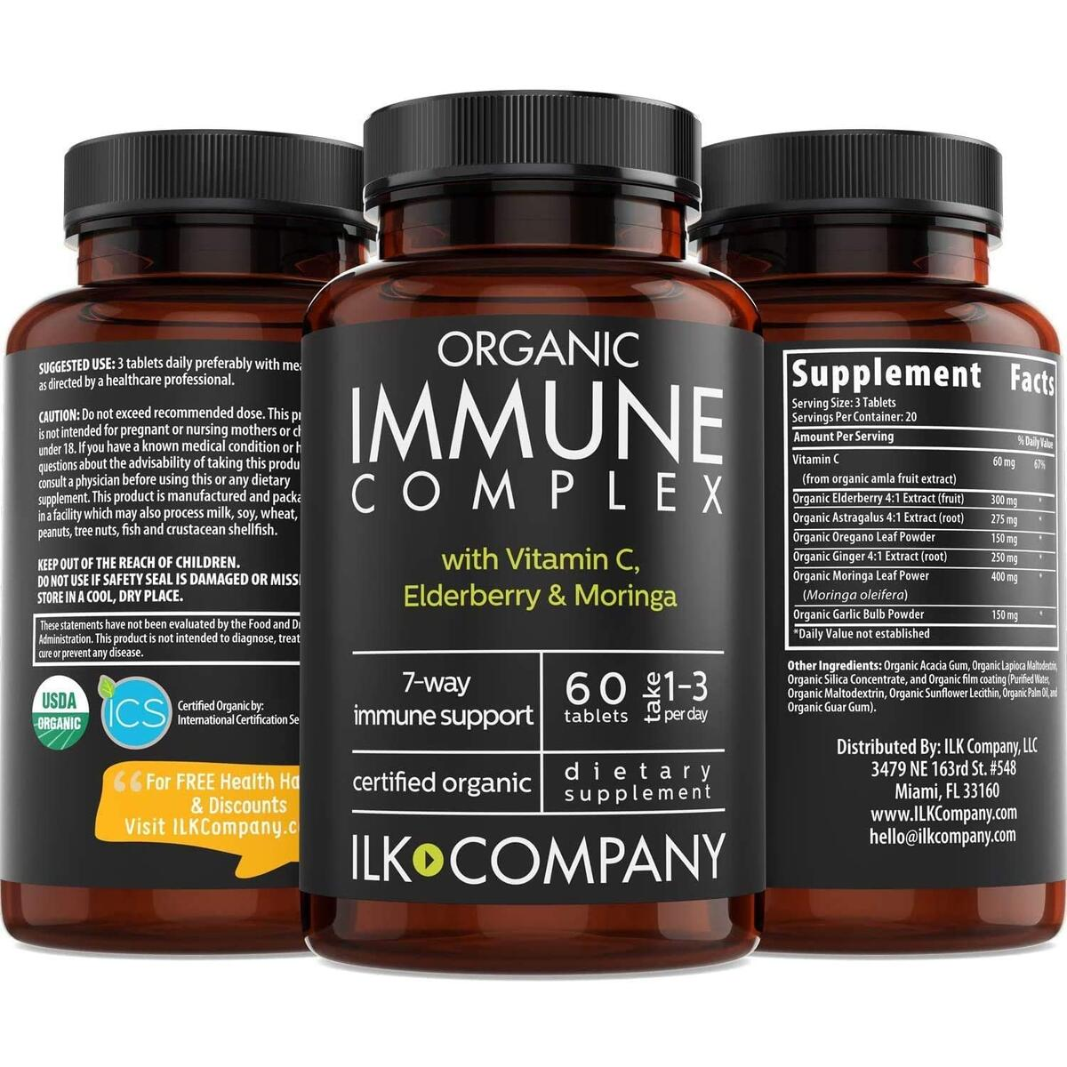 Organic Immunity Booster Supplement - 7-in-1 Immune Defense with Elderberry, Astragalus, Ginger, Moringa & Garlic - Once Daily Dr. Approved Formula - Supports Healthy Respiratory System - 60 Capsules