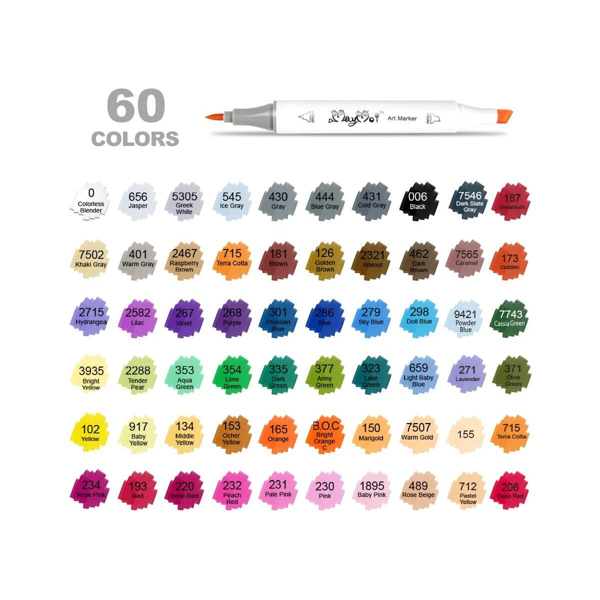 MayMoi 60 Colors Alcohol Art Markers, Brush & Chisel Dual Tips, Permanent Alcohol Based Markers Set for Painting, Coloring, Sketching and Drawing (Includes Blender & Carrying Case)