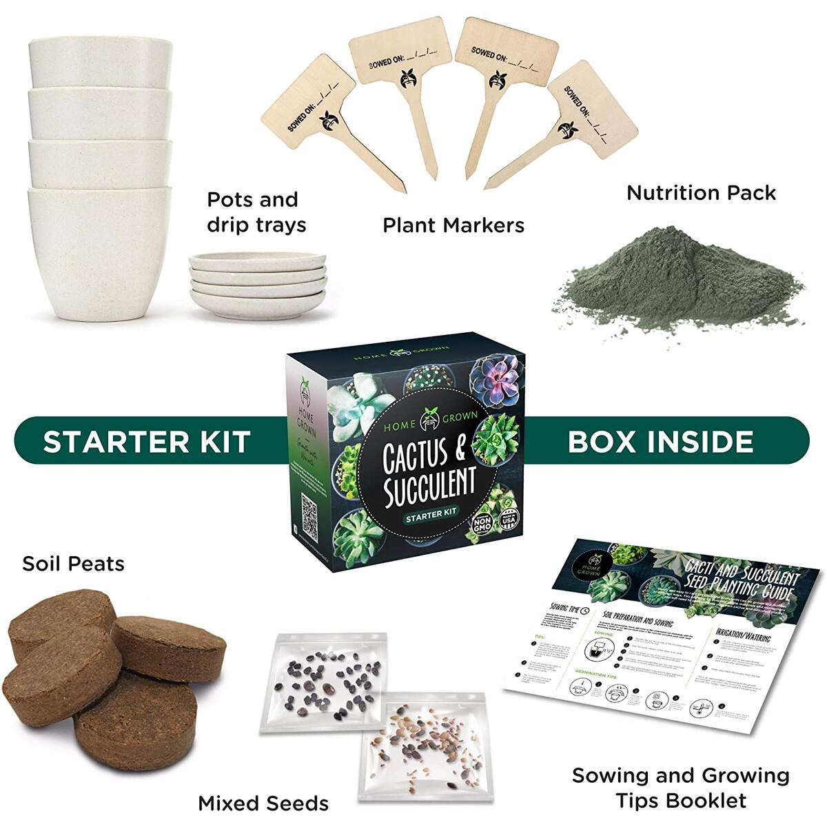 Succulent & Cactus Seed Kit for Planting – [Enthusiasts Favorites] - Cactus & Succulent Starter Kit – Premium Pack, 4 Planters, Drip Trays, Markers, Seeds Mix, Soil - DIY Gift Kits for Adults and Kids