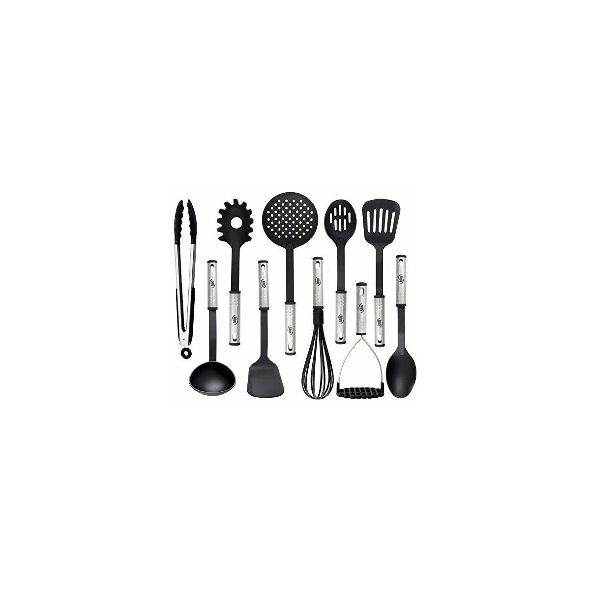Cooking Utensils, 10 Nylon Stainless Steel Kitchen Supplies Non Stick and Heat Resistant Cookware set New Chef's Gadget Tools Collection Great Silicone Spatula Best Holiday Gift Idea. (Black)