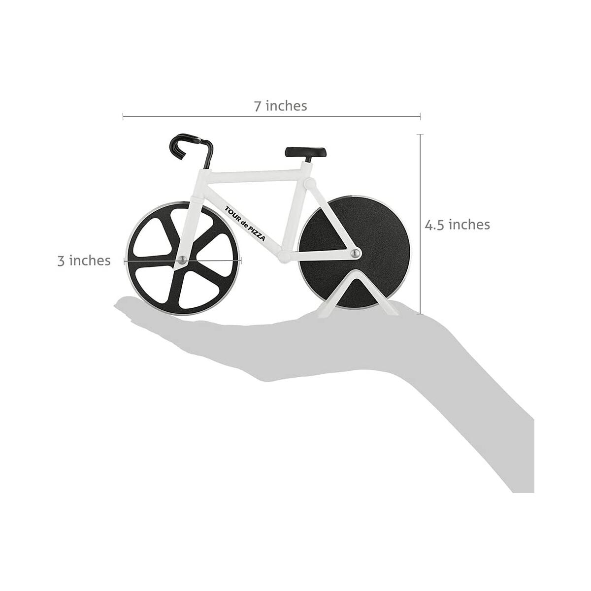 Bicycle Pizza Cutter - TOUR de PIZZA - Dual Stainless Steel Non-Stick Cutting Wheels - Display Stand - A very Cool Gift for the Kitchen by SoHo Kitchen