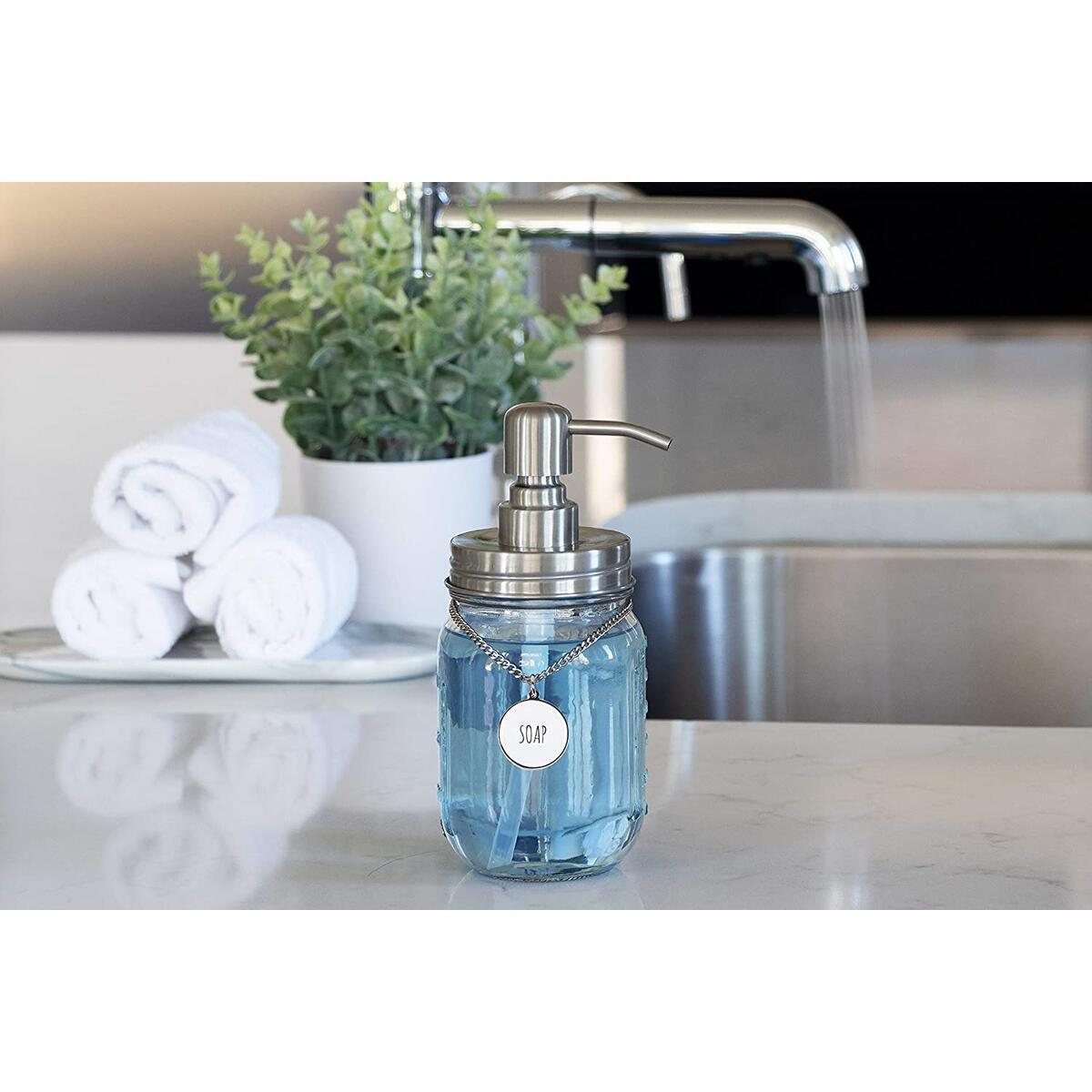 Mason Jar Soap Dispenser with SOAP/LOTION Hang Tag (Silver)