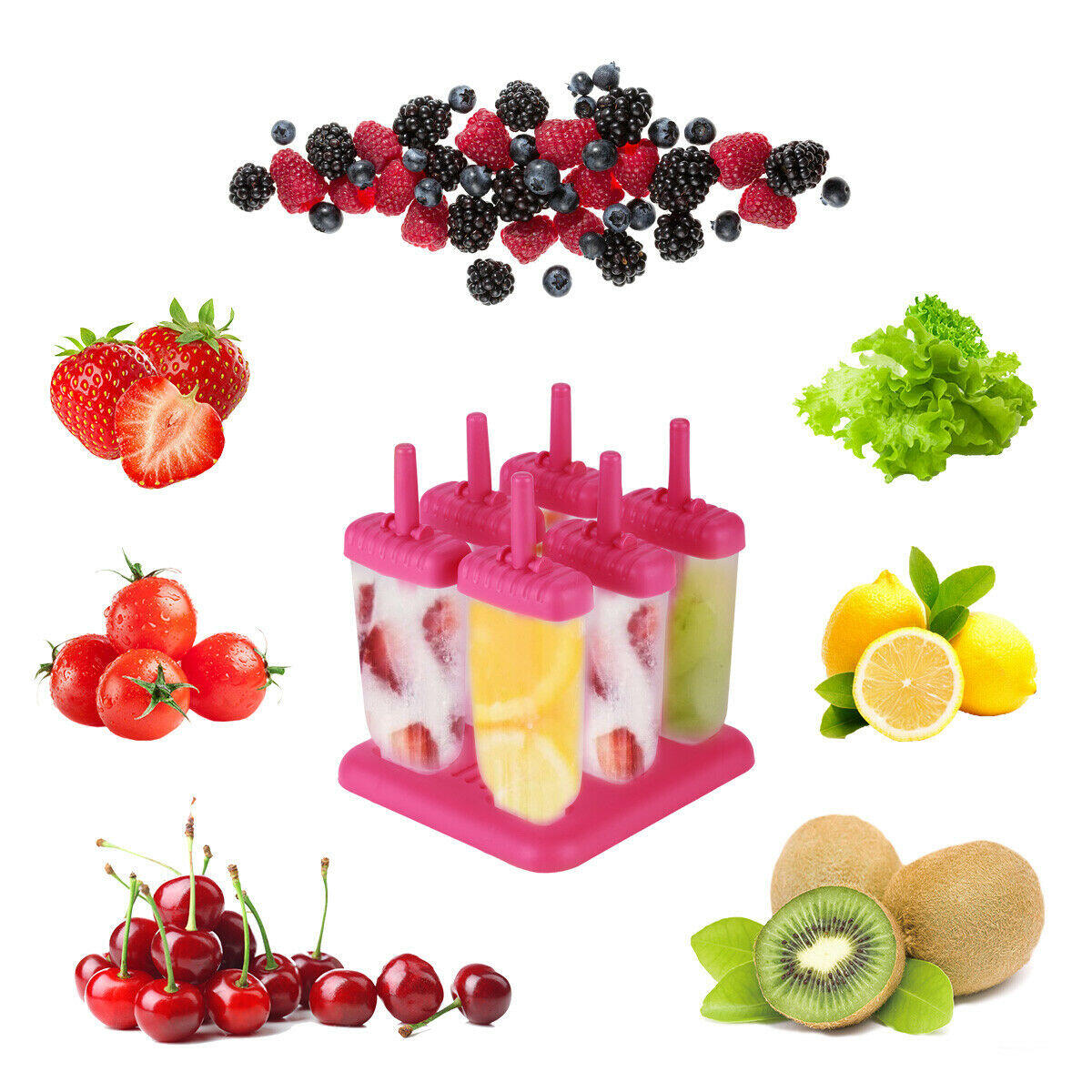 Kitchen Ice Cream Maker Popsicle Mold Set with Tray and Drip Guard 6 Pack Pink