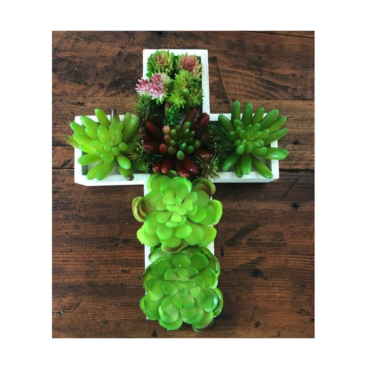 Wooden Cross Planter with Artificial Succulents for Table or Succulent Wall Decor - Much loved gifts for Mom, Grandma