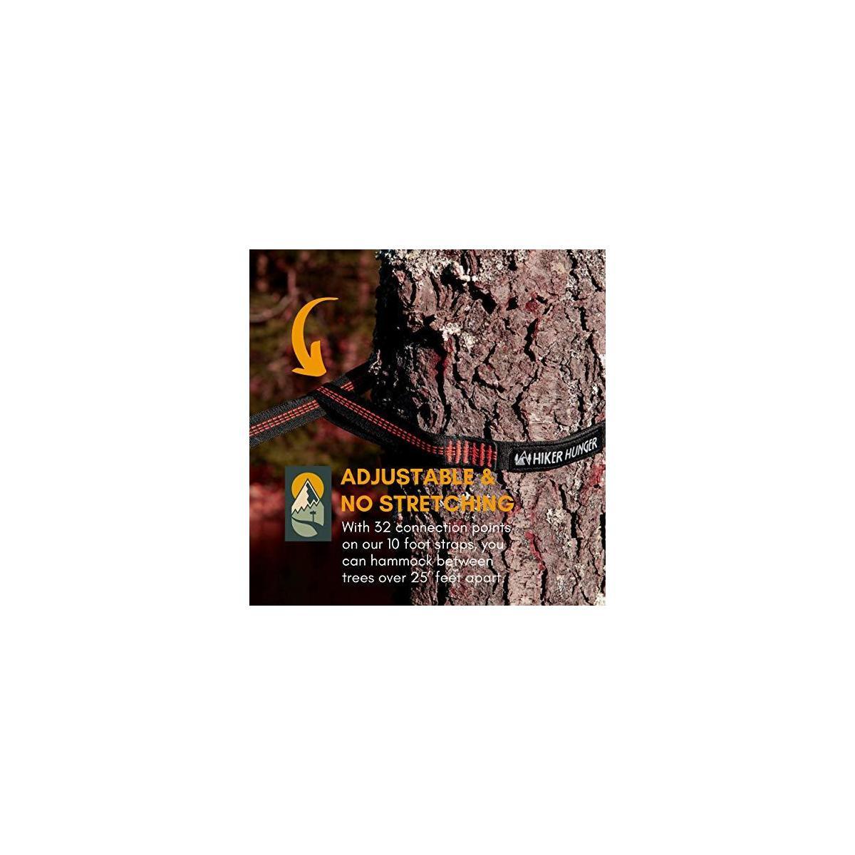 Hiker Hunger XL Hammock Tree Straps Combined 20' to 28' Feet w/ 2200 LBS Breaking Strength – No Stretch Suspension Set - Long, Heavy Duty, Ultra Lightweight w/Flat Adjustable Loops