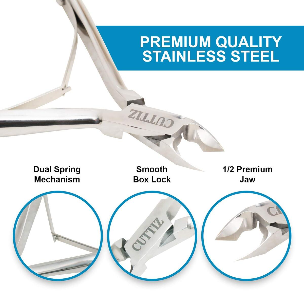 Cuticle Trimmer made of Stainless Steel, Nail Cuticle Clippers size 4.0 Inches with Double Spring, Loved by the Professional & Home users. Great addition in Manicure Tools by Cuttiz