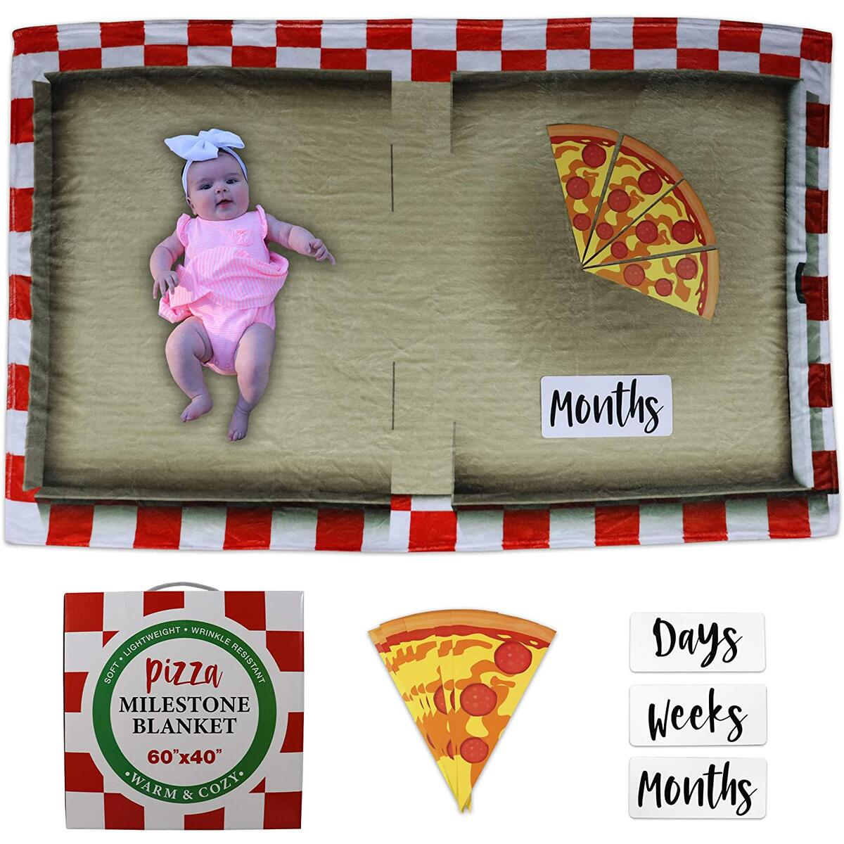 Mona Pizza Baby Monthly Milestone Blanket for Baby Girl or Baby Boy, Baby Photo Blanket for Newborn Baby Shower, Monthly Blanket for Baby Pictures, Includes 15 Piece Set, Large 60