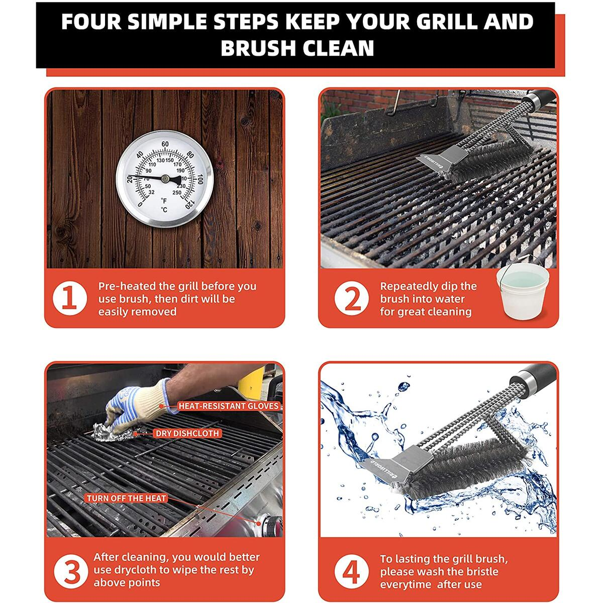 GRILLWORLD Grill Brush and Scraper, 2020 Upgraded 3-in-1 Stainless Steel Wire BBQ Brush, Strong Tough Durable BBQ Brush for Weber Gas & Charcoal Grilling Grates