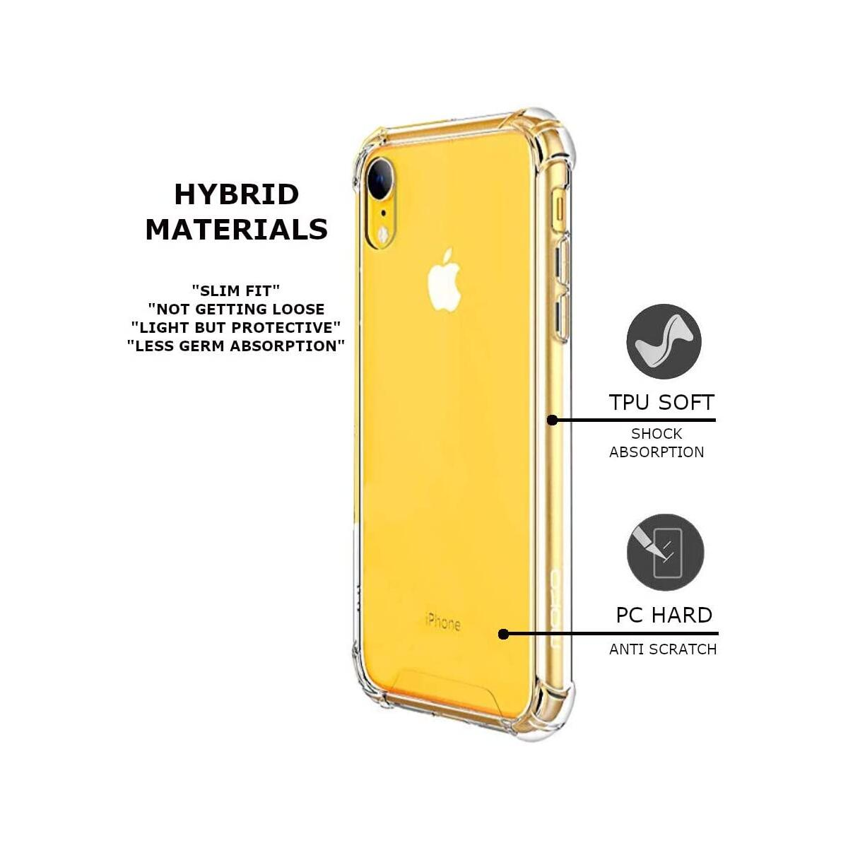 iPhone XR Clear Case, Transparent XR Cover, Shock Absorptive, Camera & Screen Protector, Reinforced Drop Protection, Hard PC Back + Soft TPU Frame Compatible with The iPhone XR 6.1
