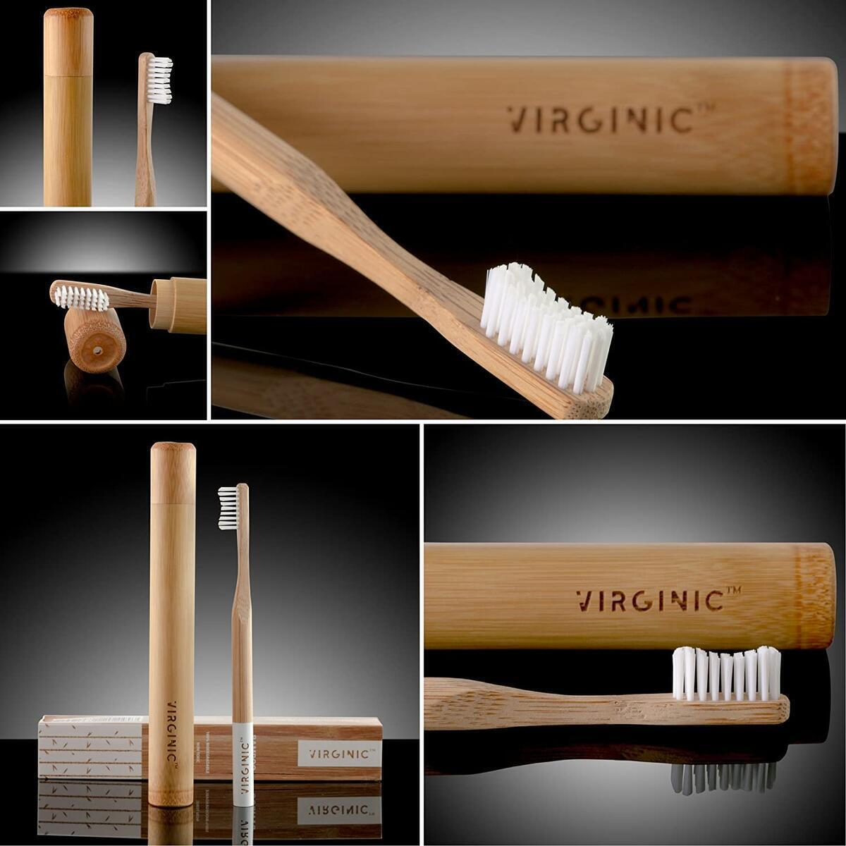 TUGARI (V Edition, 2020) Organic Bamboo Toothbrush with Elegant Eco Travel Case