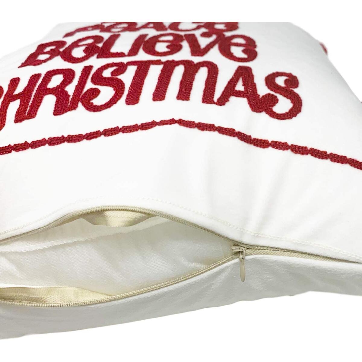Joy Christmas Decor, Velvet Christmas Throw Pillow Covers Set of 2 Christmas Pillows, Joy Peace Believe Christmas Pillows