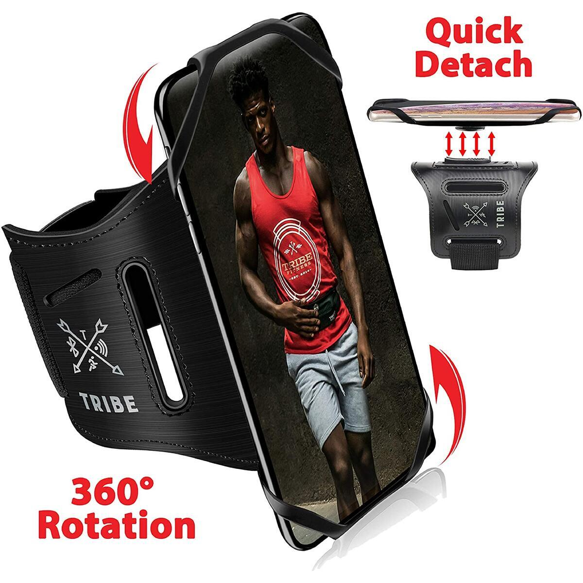 TRIBE Running Phone Armband Holder for iPhone, Galaxy, Workout Arm Band, Women, Men. 360° Rotation & Detachable.