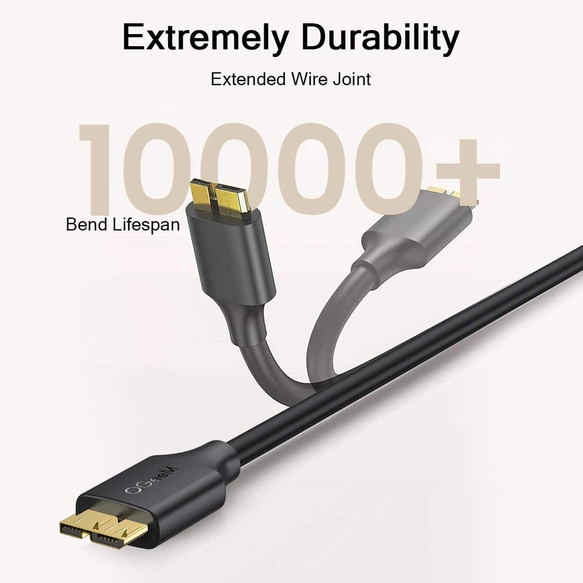 Micro USB 3.0 Cable 3FT, USB 3.0 A to Micro B Cable Charger Compatible with Samsung Galaxy S5, Note 3, Note Pro 12.2, WD Western Digital My Passport and Elements Hard Drives, 3.0 USB Cable