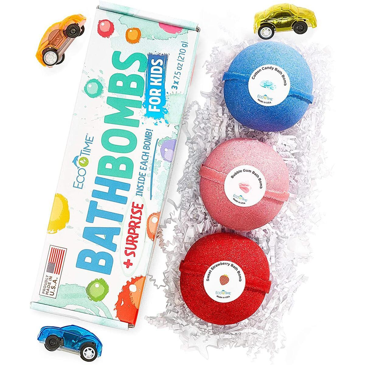 Bath Bombs for Kids with Surprise Toys CARS Inside - Bubble Fizzies with Essential Oils - Multicolored Kids Extra Large 3 Bath Bombs - Natural & Organic Ingredients Set for Boys and Girls Handmade USA