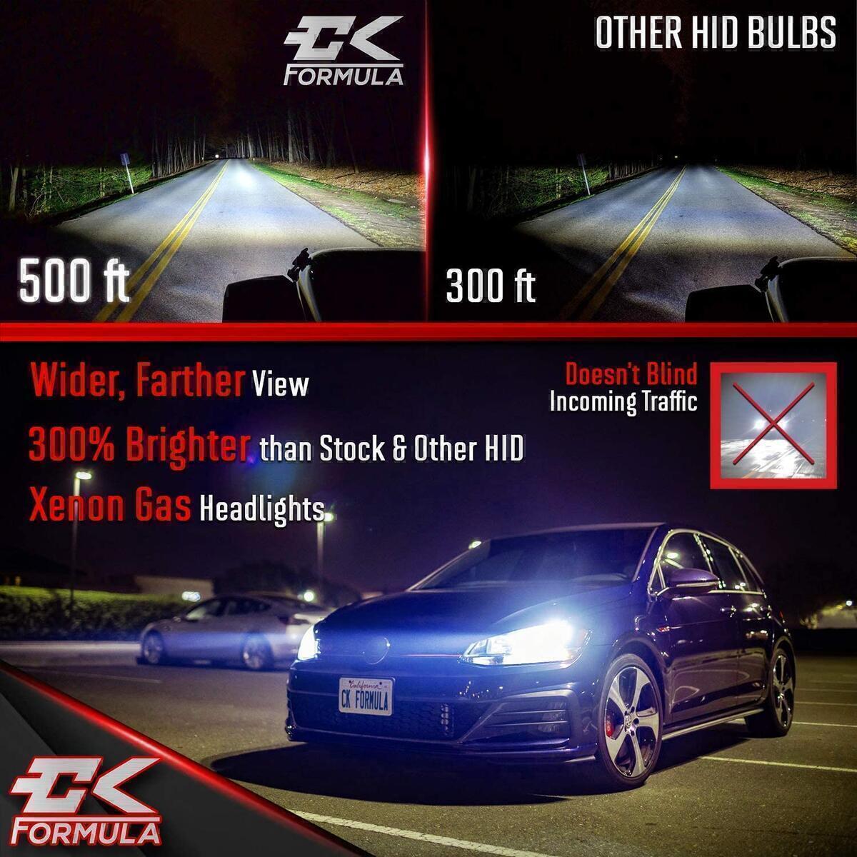CK Formula D2C/D2R/D2S HID Headlight Bulb 10000K - Dark Blue, 12V 35W, Xenon for Direct Factory Automotive OEM Head Light Replacement IP68 Waterproof (Set of 2)