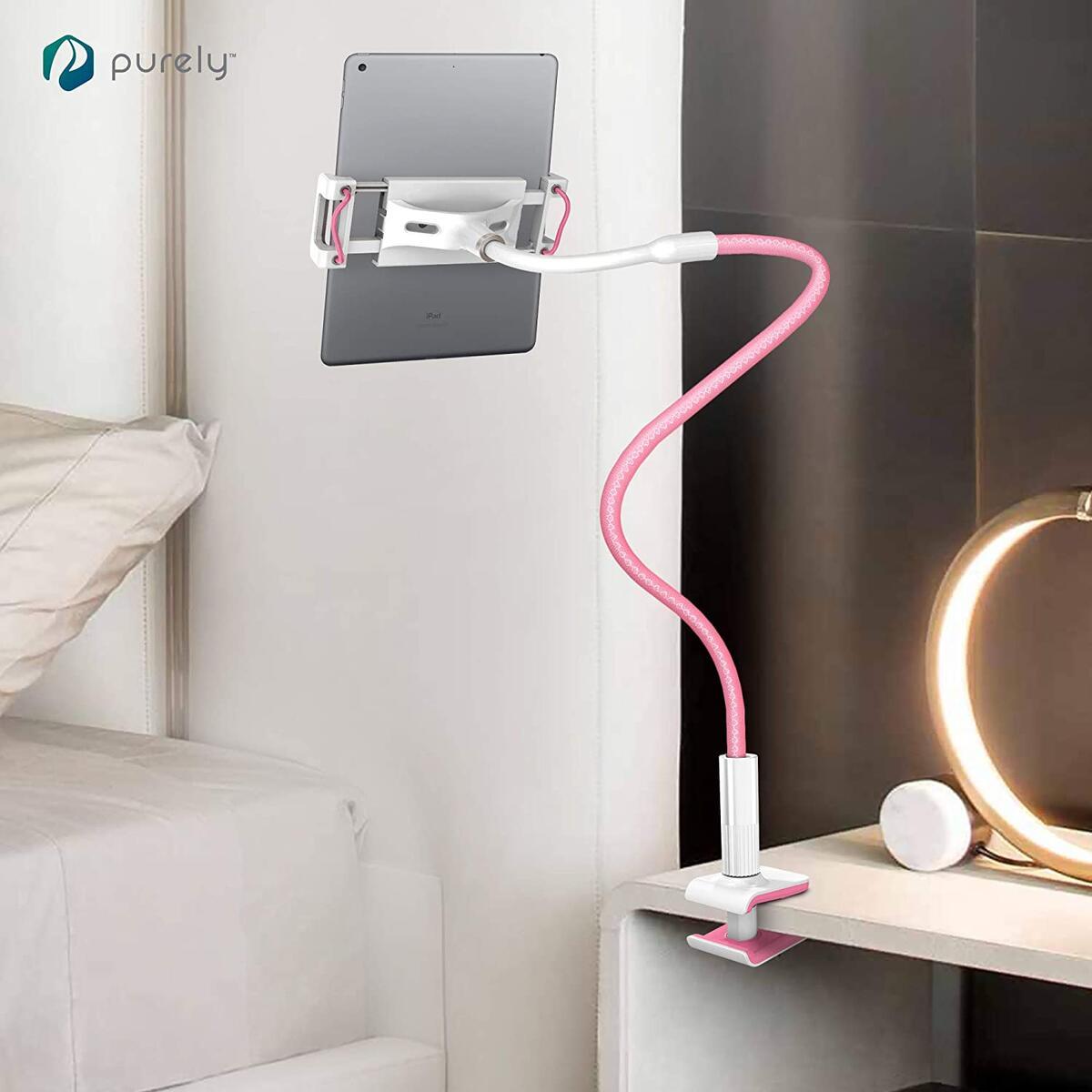 Deluxe Gooseneck Phone & Tablet Holder for Desk, Night Stand, Headboard - (2-Pack) Gray/Pink