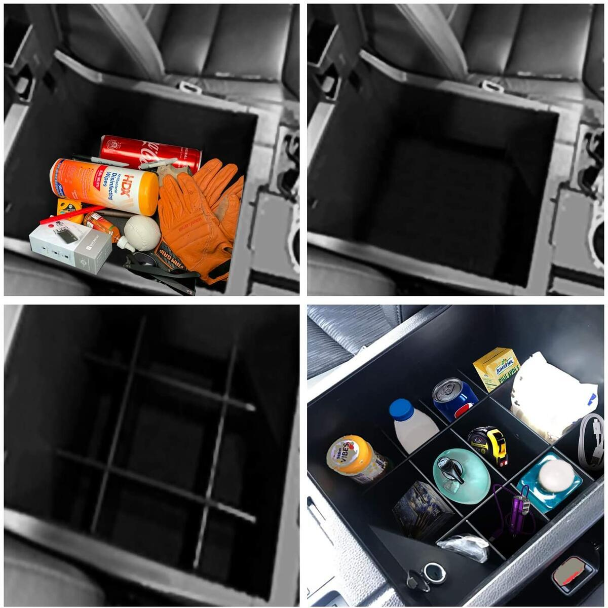 Center Console Organizer Divider Compatible with Toyota Tundra, Armrest Console Interlocking Insert Dividers, Car Accessories for Years 2014-2021 All Models, Black
