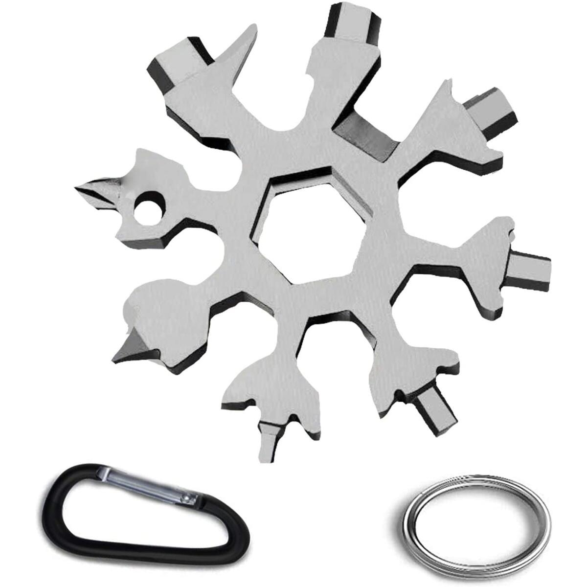 Snowflake Multi Tool, 18 in 1 Stainless Steel Snowflake Bottle Opener/Flat Phillips Screwdriver Kit/Wrench, Durable and Easy to Carry, Practical Christmas Gift(Silver)