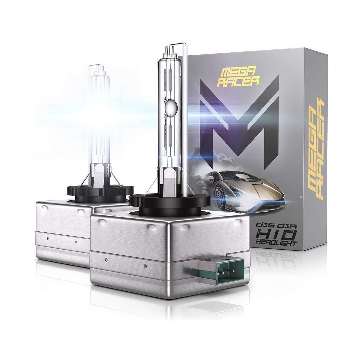 Mega Racer D3C/D3R/D3S HID Bulb Headlights for Low Beam High Beam 35W 6000K Diamond White 8000 Lumens Xenon Headlights IP68 Waterproof, Pack of 2